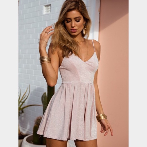 lace up in new arrivals new images of Tiger mist pink sparkly romper Small